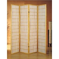 4 panel natural room divider shoji screen