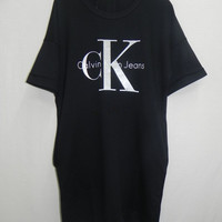 """Calvin Klein"" Women White/Black Leisure Loose T-shirt Dress"
