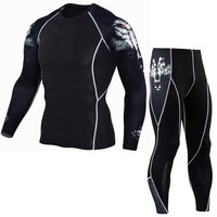 Mens compression MMA Long sleeves t shirt and leggings 2pcs Set 3d Printed gyms Fitness bodybuilding clothing Man Joggers tees