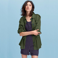Army Green Doll Collar Button Down Jacket
