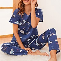 Cartoon Graphic PJ Set & Eye Cover