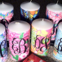 Lilly Pulitzer Inspired Monogram Candle