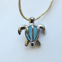 Sea Glass Turtle Locket by Wave of LifeCaribbean Blue