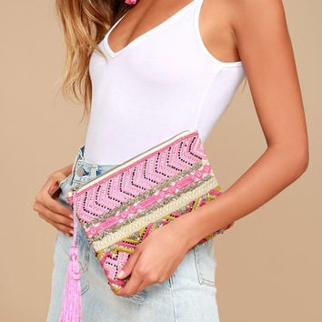 Bucolic Setting Pink Embroidered Clutch