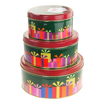 Christmas Cookie Tin Round Containers with Santa/Gift Box, 3 Size, Multi-Color