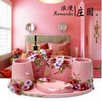 New 5pcs Bath Set Resin Bathroom Accessories Set Soap Dish Toothbrush Holder Lotion Dispenser Tumbler