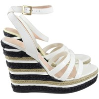Versace White Patented Leather and Cord Espadrilles. S.38