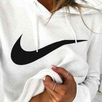 Nike Trending Women Leisure Logo Print Long Sleeve Hoodie Top Sweater White I