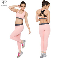 B.BANG Women Sport Sets for Running Yoga Fitness Gym Girl Clothing Sports Bra and Sport Leggings Sportwear Suit for Woman