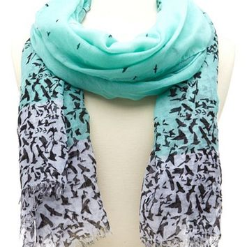 Ombre Bird Print Scarf: Charlotte Russe