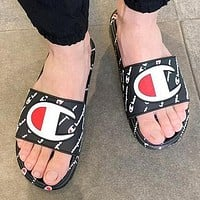 Champion Newest Popular Women Men Casual Sandal Slipper Shoes Black