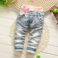 Spring Autumn Roupas Baby Girls Washed Vintage Embroidery Bow Cartoon Lace Denim Jeans Full Length Pants Kids Trousers S2750