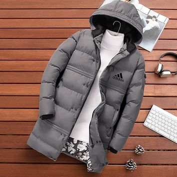 ADIDAS 2018 autumn and winter new down cotton cold and cold men's down jacket Grey