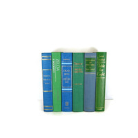 Blue Green Vintage Decorative Book Set for Book Home Decor , Gift for  Book Lover ,  Wedding Decor and Photo Prop