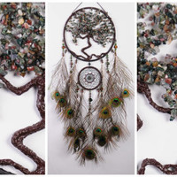 Green Dream Catcher Tree life jasper peacock Dreamcatcher Dream сatcher dreamcatchers wall decor handmade idea gift birthday native american