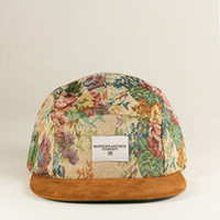 Multi-Flora 5 Panel Pattern Hat w Suede Brim