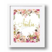 Girl Name printable Customized gifts for Baby Girl Personalized Girl gifts Coral Blush Gold Watercolor floral Name wall art Baptism gift 101
