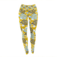 "Nandita Singh ""Blue and Yellow Flowers "" Gold Floral Yoga Leggings"