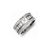 Sterling Silver CZ 3 Piece Wedding Set Ring: RingSize: 7