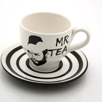 Mr  T Tea Teacup and Saucer Black and White by LennyMud on Etsy