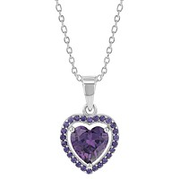 925 Sterling Silver Heart Pendant Necklace CZ Girls Kids Teens 16""