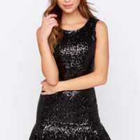 Talk of the Town Black Sequin Dress