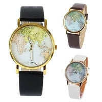 Women's Fashion Globe World Map Print Dial Round Gold Tone Case Fashion Watch = 1956368196