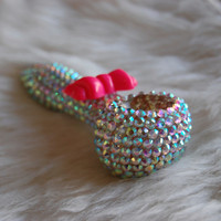 AB Rhinestone with Pink Double Bow Glass Pipe