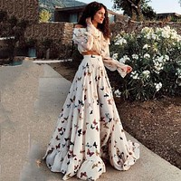 2020 New Women's Butterfly Print Long Dress Beach Dress Two-piece