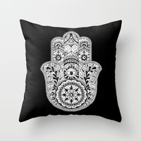 Hamsa Black & White Hand Eye Indian Buddha Ganesh Throw Pillow by Cabinet Of Pretty Things