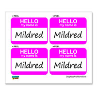 Mildred Hello My Name Is - Sheet of 4 Stickers