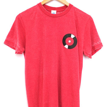 Record Red Acid Wash Graphic Unisex Tee