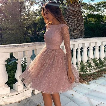 A-line Short Prom Dresses 2020 Scoop Neck Long Sleeves Shiny Homecoming Backless Knee Length Prom Gowns Graduation Dresses