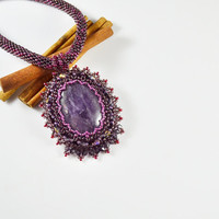 Free Shipping , necklace amethyst, stone necklace, unique necklace , a gift for her,  handicraft, szkatulka ami