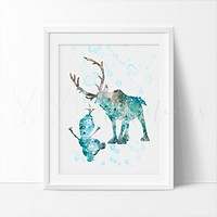 Sven & Olaf, Frozen Watercolor Art Print