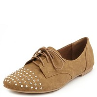 STUD-TOE SUEDED OXFORD FLAT