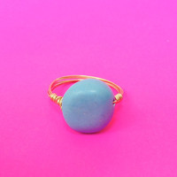 Ships Free! Turquoise Round Natural Stone Wire Wrapped Gold Ring - Great Gift for Bridesmaids, Birthdays, and More!