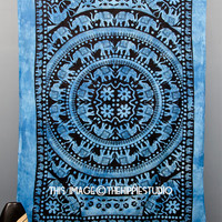 Hippie Indian Tapestries, Elephant Mandala Tapestry, Boho Bed Spread, Bohemian Wall Tapestries, Dorm Wall Hanging, Hippie Bed Coverlet Art