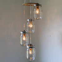 Spiral Cascading Mason Jar Chandelier Hanging Pendant Lighting Fixture - Rustic Wedding