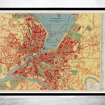 Old Map of Geneve Geneva City , Switzerland 1830