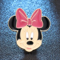 Enamel Cute Animal Pink Ear Bow-Knot Mouse Style Brooch Denim Jacket Pin Buckle Shirt Badge Gift lapel pin