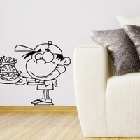 Wall Vinyl Decal Sticker Art Design Outlined Boy with Fast-food Cafe Kitchen Room Nice Picture Decor Hall Wall Chu1154