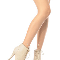 Beige Faux Leather Lace Up Peep Toe Heels