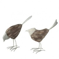 Distressed Metal and Wood Birds - Set of 2