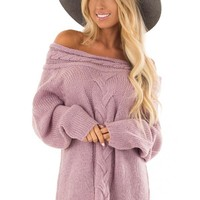 Lavender Off the Shoulder Knit Sweater with Braided Detail