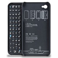 Sanoxy Sliding Bluetooth Keyboard and Hardshell Case with Backlight for iPhone 5/5S - Non-Retail Packaging - Black