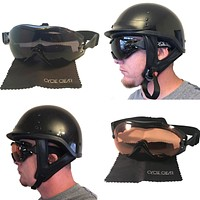 Cycle Clear ZL - Over Glasses Motorcycle Goggles - Smoke + Amber Bundle