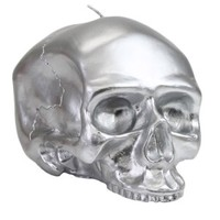 Medium - Silver Skull Metallic Candle