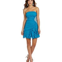 Teeze Me Strapless Glitter Ruffle Cork Screw Dress - Turquoise