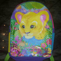 Vintage Lisa Frank Backpack with Lion Cub and Lizard Large 90s Kawaii